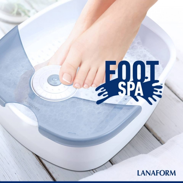 Aparat de masaj pentru picioare, spa cu hidromasaj si vibratii, 60 W, alb-albastru [2]