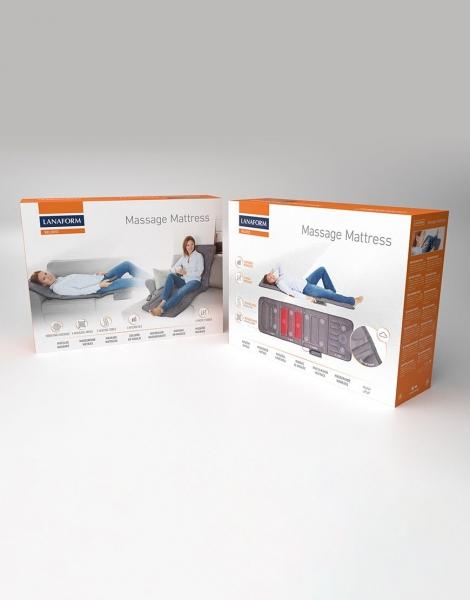 Saltea de masaj Lanaform cu incalzire si vibratii, 5 programe, 3 intensitati, 4 zone de masaj si 10 motoare, lungime 175 cm 4