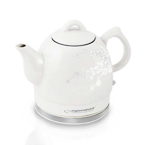 Cana electrica, ceainic electric din ceramica 1.2 l,  1350 W exterior emailat design elegant, maner protectie termica, fierbere rapida, alb emailat [0]