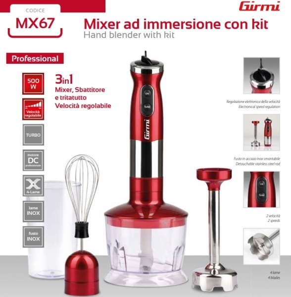 Mixer 3 in 1 Girmi - MX67 cu functie blender si chopper/tocator, 500W, viteza reglabila, lame inox, turbo 3