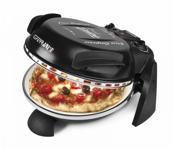 Cuptor pizza G3Ferrari Delizia negru special cu suprafata de coacere din piatra refractara, termoregulator pana la 390° C si timer cu atentionare sonora 0