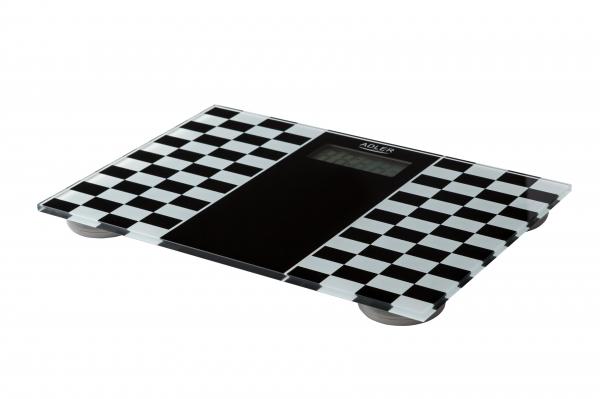 Cantar electronic de persoane, 4 senzori precisi, ecran LCD, sticla securizata, alb-negru, 150 kg max, oprire automata 0
