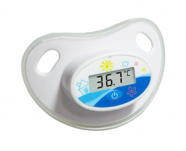 Termometru tip suzeta, ecran LCD indicator febra, baterie slaba, alb 0