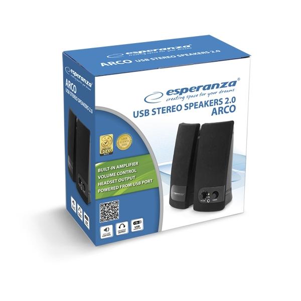 Boxe 2.0 ARCO, compatibile cu toate dispozitivele cu intrare USB 3.5mm 3