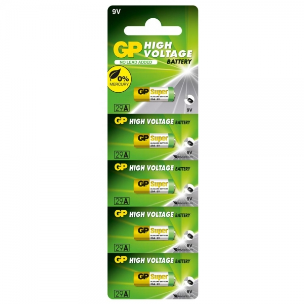 Set 5 Baterii alkaline High Voltaj  GP A29 9V  pentru telecomenzi auto si alte dispozitive 0