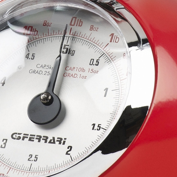 Cantar de bucatarie mecanic cu bol mare G3Ferrari - Aska, capacitate max. 5 kg, diviziune 25g, functie tare si zero, design retro, rosu 1
