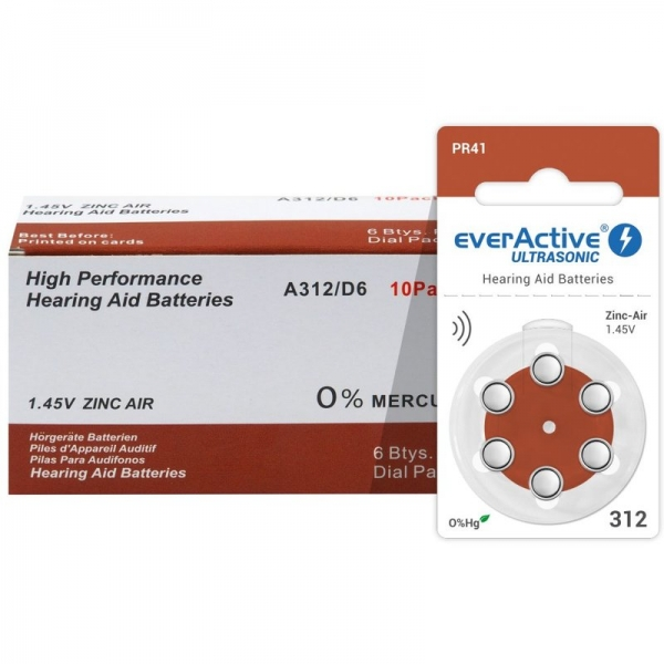 Baterii auditive A312 everactive zinc air, 1.45V, Hg 0%, blister de 6 bucati 0
