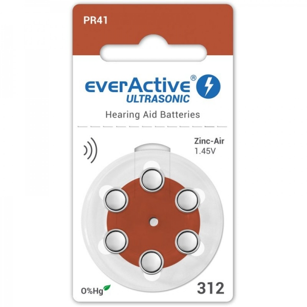 Baterii auditive A312 everactive zinc air, 1.45V, Hg 0%, blister de 6 bucati 1
