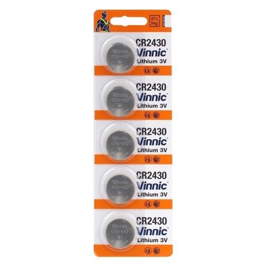 Baterie CR2430 Vinnic 3V Litium, 5 buc Blister pentru telecomenzi auto, sonerii, alarme, dispozitive medicale [0]