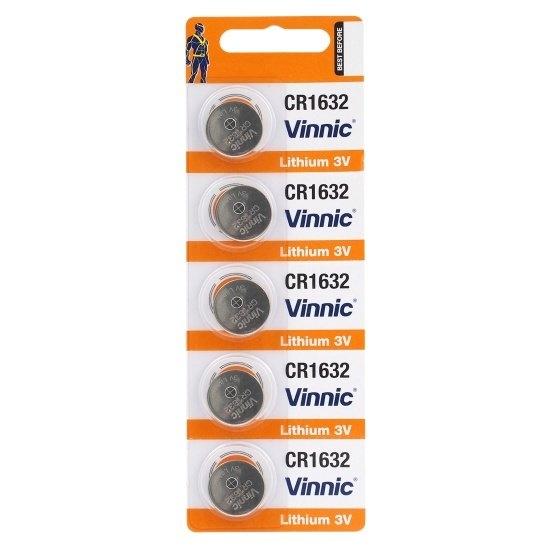 Baterie CR1632 Vinnic 3V Litium, 5 buc Blister pentru telecomenzi auto, sonerii, alarme, dispozitive medicale [0]