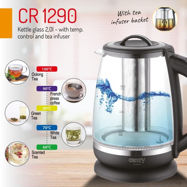 Cana electrica cu reglare temperatura 60-100 ° C si filtru ceai Camry 2l 4