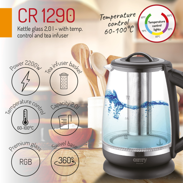Cana electrica cu reglare temperatura 60-100 ° C si filtru ceai Camry 2l 7