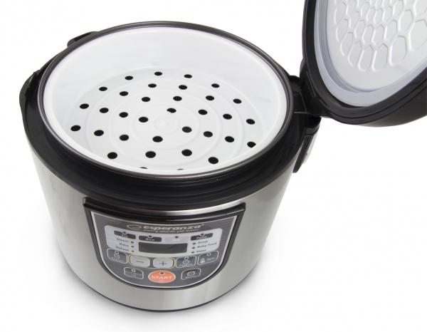 Multicooker din inox cuva 5L, panou comanda digitala smart cu 11 functii presetate sau programabile 3