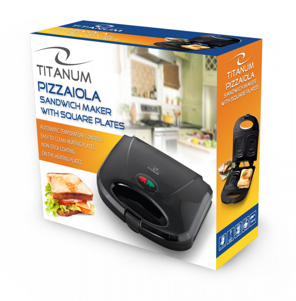 Sandwich Maker Pizzaiola 700 W, placi neaderente, indicator LED culoare negru 2