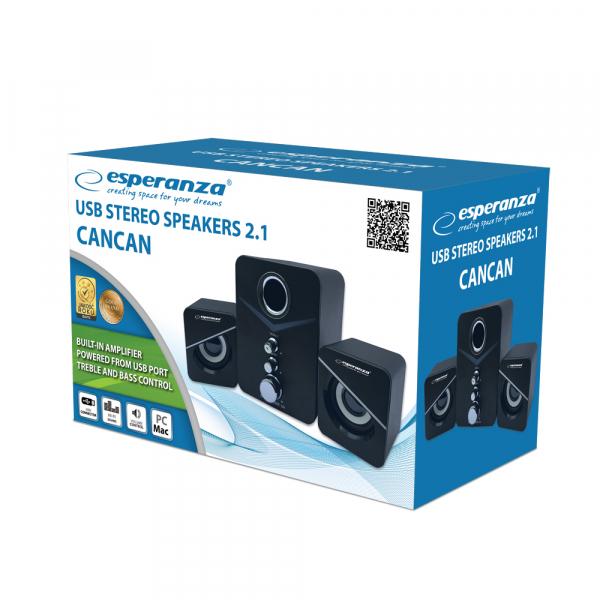 Boxe 2.1 Cancan cu USB si jack 3.5 mm, cablu 1.2 m, control volum 0