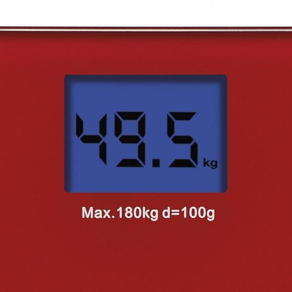 Cantar electronic de persoane Girmi, ecran LCD, sticla securizata, rosu 180 kg max, oprire automata 2