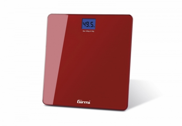 Cantar electronic de persoane Girmi, ecran LCD, sticla securizata, rosu 180 kg max, oprire automata 3
