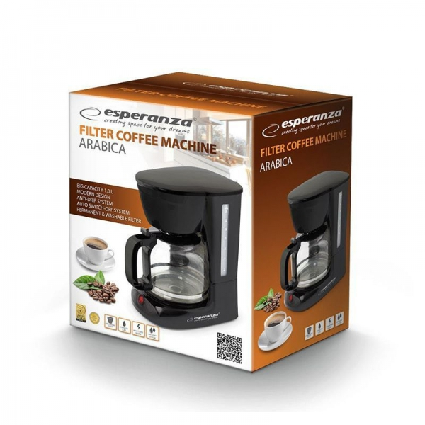 Cafetiera, filtru de cafea negru, capacitate 1.8l, sistem anti-picurare 1