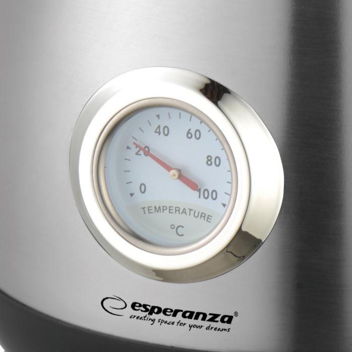 Cana electrica cu termometru Thames, putere 2200W, capacitate 1.7L, inox, oprire automata dupa fierbere, capac etans pentru mentinere temperatura 5