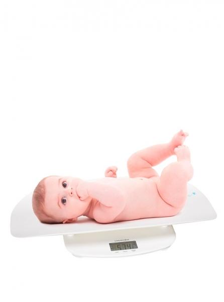 Cantar de bebelusi Lanaform - Evolutive 2 in 1 cu tava detasabila, sistem de stabilizare a greutatii, precizie 5 g, capacitate max 150 kg, oprire automata, alerta baterie si supraincarcare, functie to 2