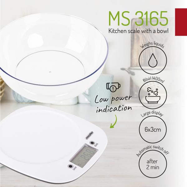 Cantar electronic de bucatarie cu bol 1.4l MEMS3165 cantarire maxima 5 kg precizie 1g functie tare si zero [5]