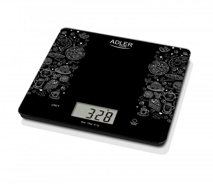Cantar electronic de bucatarie capacitate mare 10 kg, precizie 1g functie tare si zero, ecran LCD, negru [3]