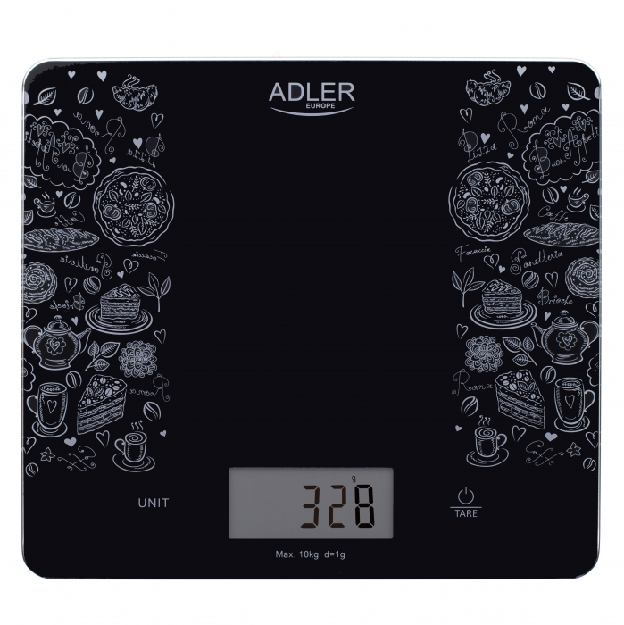 Cantar electronic de bucatarie capacitate mare 10 kg, precizie 1g functie tare si zero, ecran LCD, negru [0]