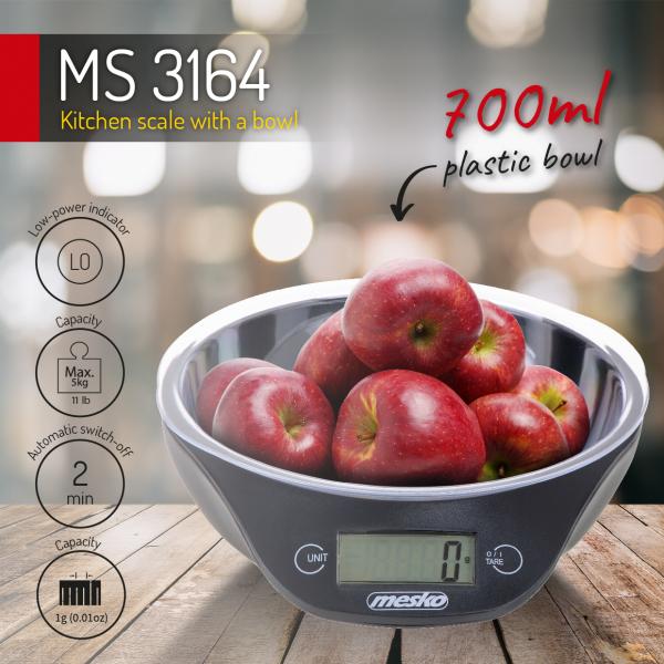 Cantar electronic de bucatarie Mesko ME3164 cu bol de capacitate max. 5 kg, diviziune 1g, functie tare si zero, indica suprasarcina si baterie scazuta, oprire automata 4