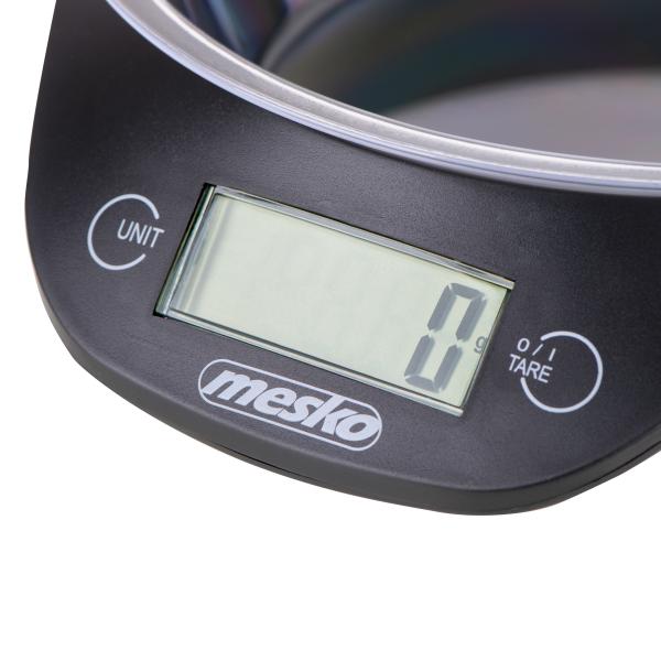 Cantar electronic de bucatarie Mesko ME3164 cu bol de capacitate max. 5 kg, diviziune 1g, functie tare si zero, indica suprasarcina si baterie scazuta, oprire automata 1