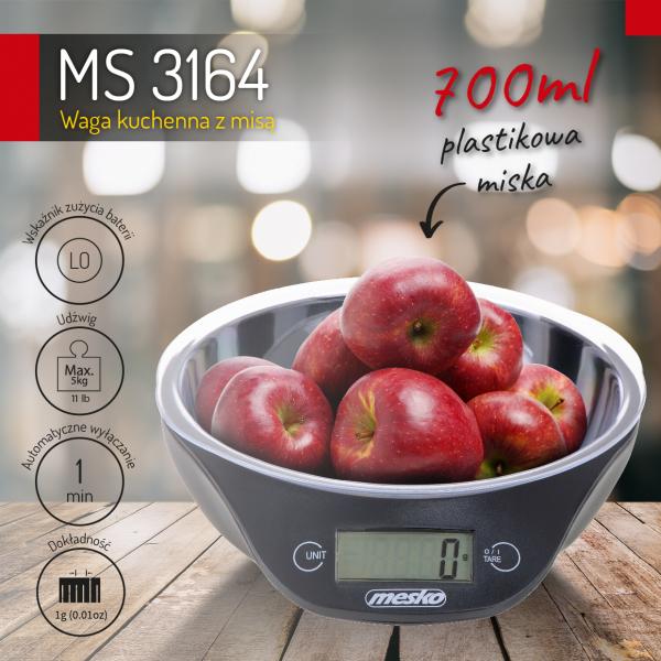 Cantar electronic de bucatarie Mesko ME3164 cu bol de capacitate max. 5 kg, diviziune 1g, functie tare si zero, indica suprasarcina si baterie scazuta, oprire automata 2