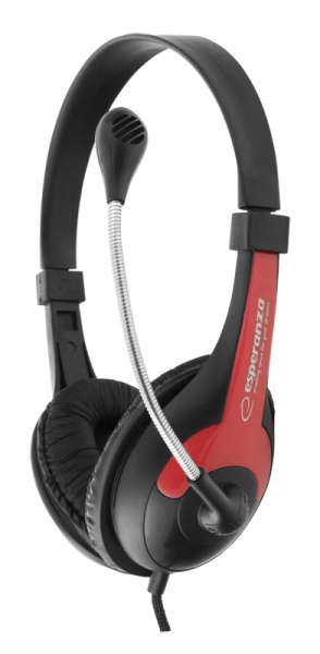 Casti cu microfon Esperanza Rooster rosu pentru gaming conexiune jack 2 x 3.5 separat microfon si separat casca, ajustabile, flexibile 1