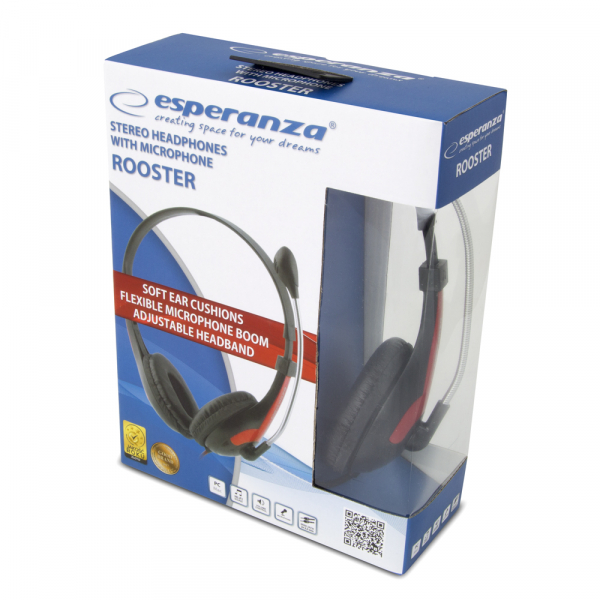 Casti cu microfon Esperanza Rooster rosu pentru gaming conexiune jack 2 x 3.5 separat microfon si separat casca, ajustabile, flexibile 3