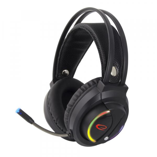 Casti cu microfon pentru gaming Nightshade, lumina RGB, sunet stereo conexiune jack si USB microfon si casca, ajustabile, flexibile 1