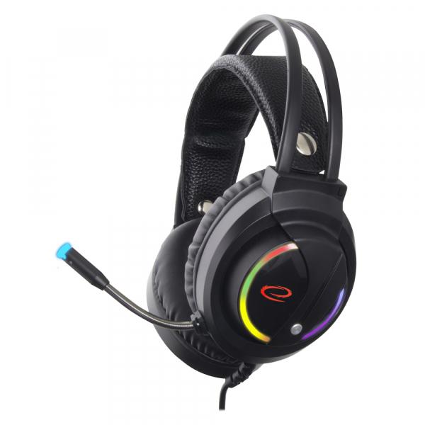 Casti cu microfon pentru gaming Nightshade, lumina RGB, sunet stereo conexiune jack si USB microfon si casca, ajustabile, flexibile 0