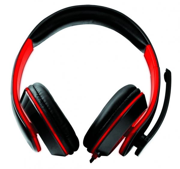Casti stereo cu microfon de inalta fidelitate si control de volum pe fir pentru gamers, Esperanza Condor rosu 1