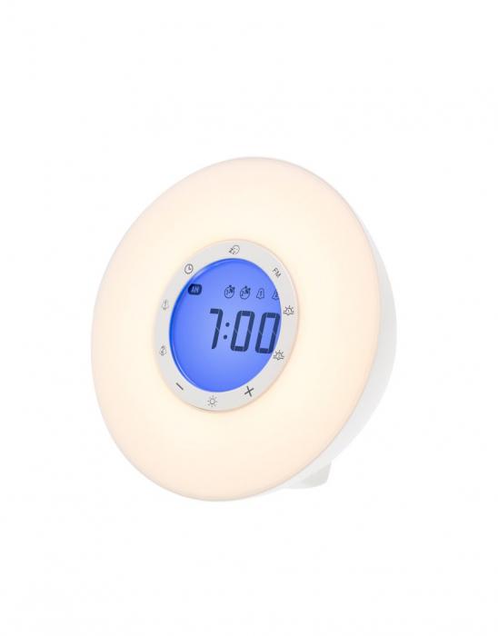 Ceas desteptator cu radio, lumina rasarit si apus alarma si sunete, LED multicolor Lanaform Wake-up [0]
