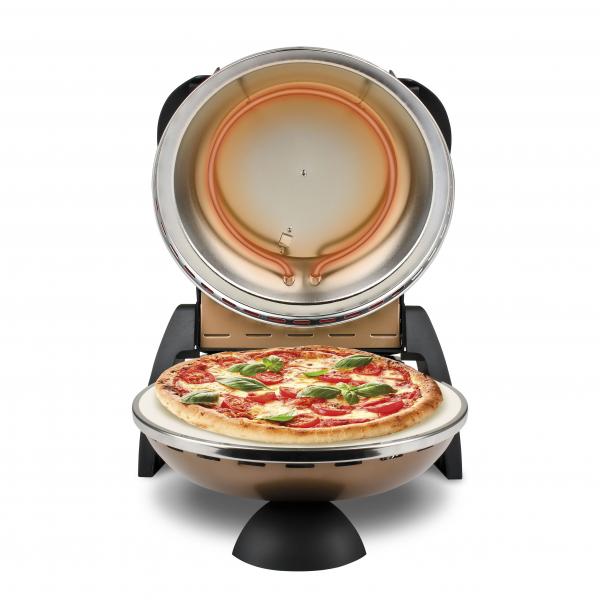 Cuptor pizza G3Ferrari Delizia aramiu special cu suprafata de coacere din piatra refractara, termoregulator pana la 400° C si timer cu atentionare sonora [1]