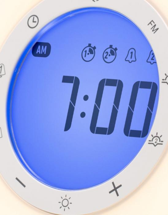 Ceas desteptator cu radio, lumina rasarit si apus alarma si sunete, LED multicolor Lanaform Wake-up [2]