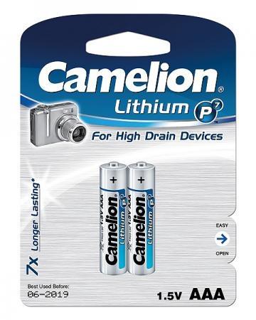 Baterii Baterii lithim  FR03 AAA, sau R3, R03 BP2,  Lithium, blister de 2 buc, Camelion 1