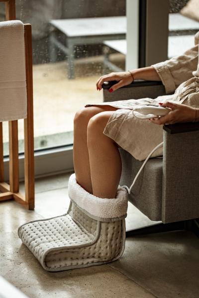 Incalzitor picioare cu telecomanda, 6 niveluri incalzire, cronometru, material moale, gri 3