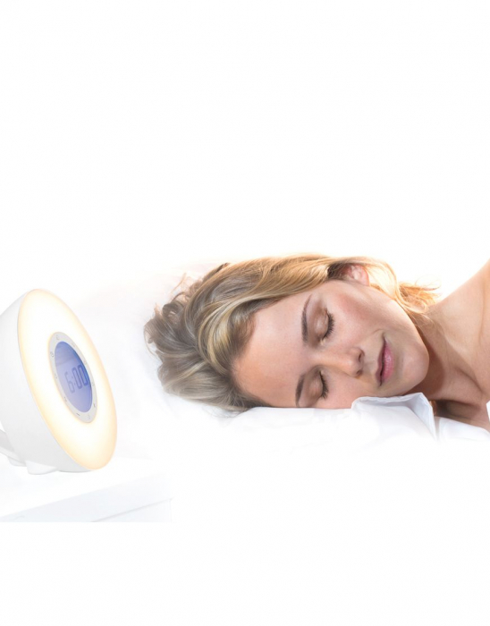 Ceas desteptator cu radio, lumina rasarit si apus alarma si sunete, LED multicolor Lanaform Wake-up [7]