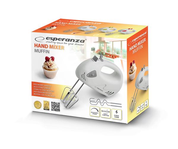 Mixer de mana Esperanza EKM007E Muffin, 125W, Alb 1