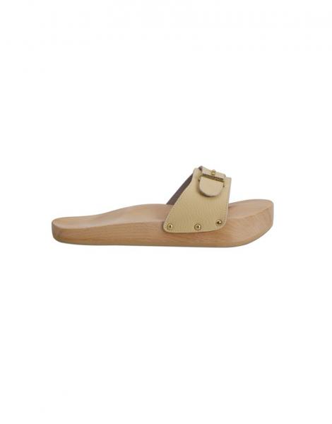 Papuci anticelulitici Lanaform Dynastatic cu talpa din lemn, forma ortopedica, marimea 38, crem 0