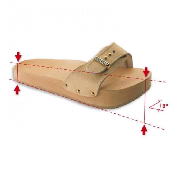 Papuci anticelulitici Lanaform Dynastatic cu talpa din lemn, forma ortopedica, marimea 40, crem 0
