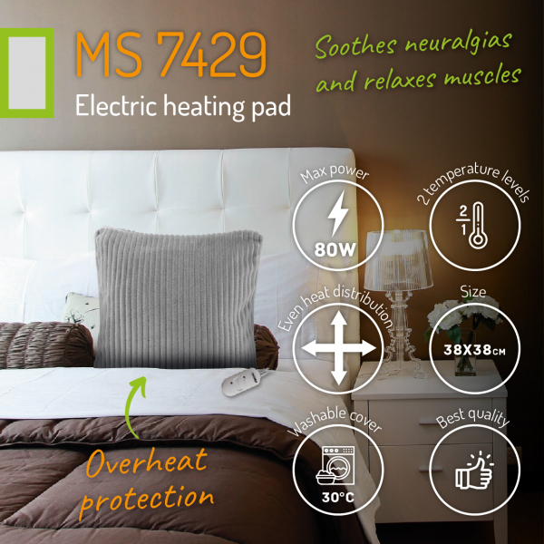 Perna electrica cu incalzire, 2 trepte temperatura, 38x38 cm, material placut, control telecomanda, gri 8