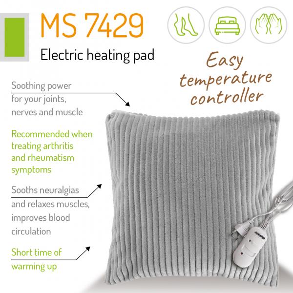 Perna electrica cu incalzire, 2 trepte temperatura, 38x38 cm, material placut, control telecomanda, gri 7