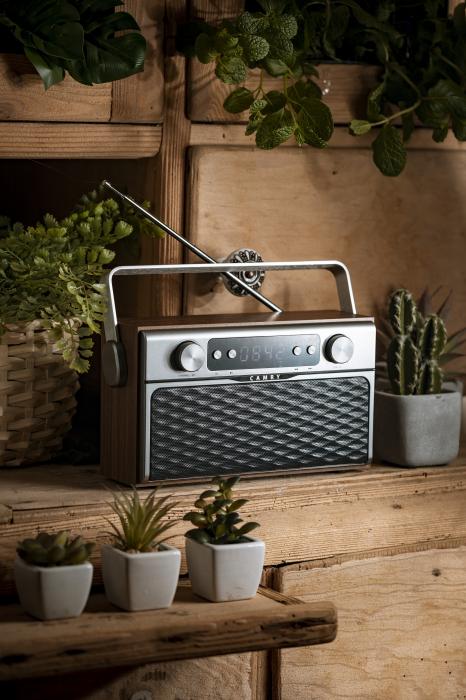 Radio bluetooth 5.0 MECR1183 portabil cu aspect retro,  memorie 50 posturi, redare de pe USB si card SD, intrare auxiliara, ceas, putere 16W 4