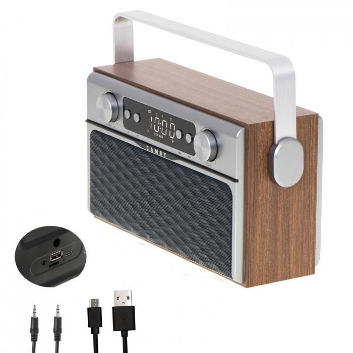 Radio bluetooth 5.0 MECR1183 portabil cu aspect retro,  memorie 50 posturi, redare de pe USB si card SD, intrare auxiliara, ceas, putere 16W 1
