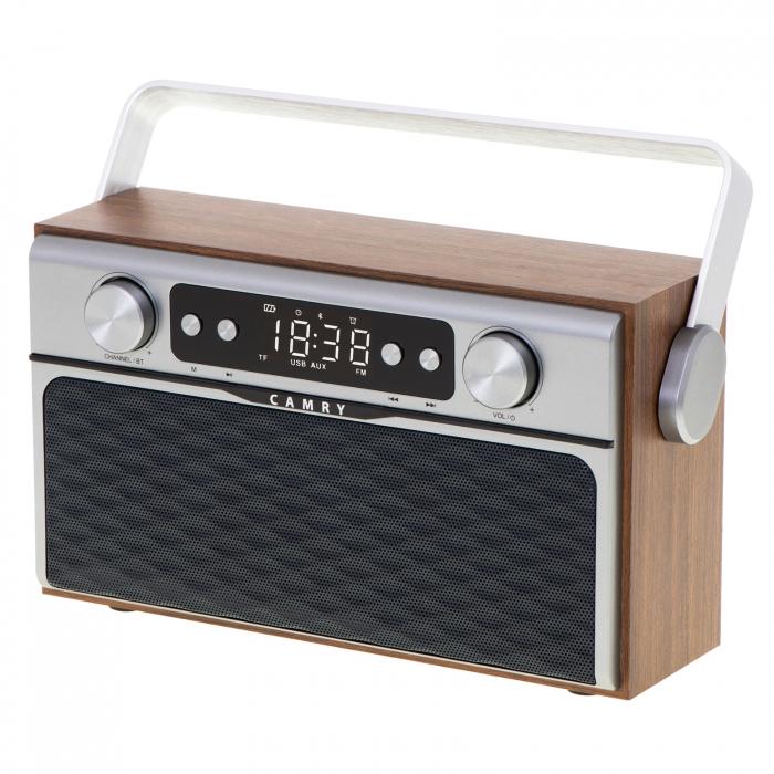 Radio bluetooth 5.0 MECR1183 portabil cu aspect retro,  memorie 50 posturi, redare de pe USB si card SD, intrare auxiliara, ceas, putere 16W 3