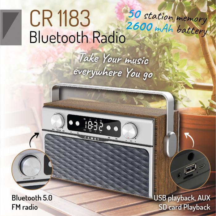 Radio bluetooth 5.0 MECR1183 portabil cu aspect retro,  memorie 50 posturi, redare de pe USB si card SD, intrare auxiliara, ceas, putere 16W 5